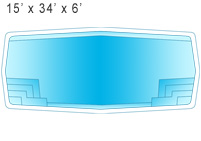 15 x 34 x 6 Inground Fiberglass Swimming Pool