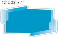 12 x 22 x 4 Inground Fiberglass Swimming Pool