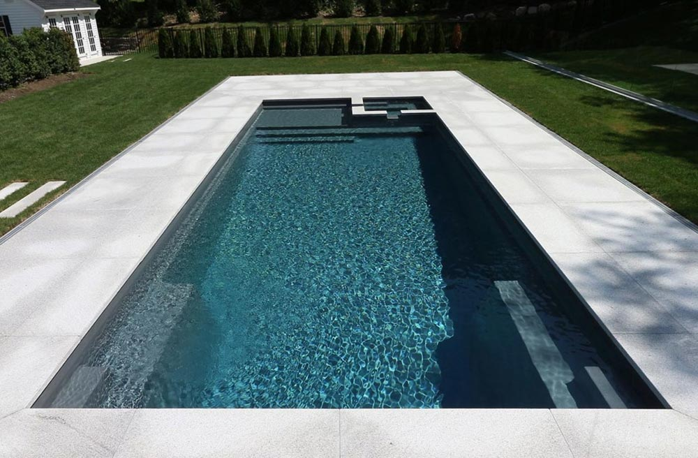 Leisure pools ultimate 40 pool model Fiberglass swimming pool installation