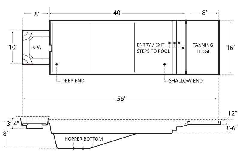 Athens 56 Tanning Ledge Spa SE Pool Schematics