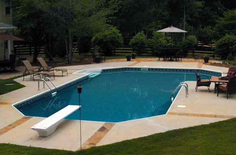 Inground vinyl liner pools grecian shape inground pools for Grecian swimming pool