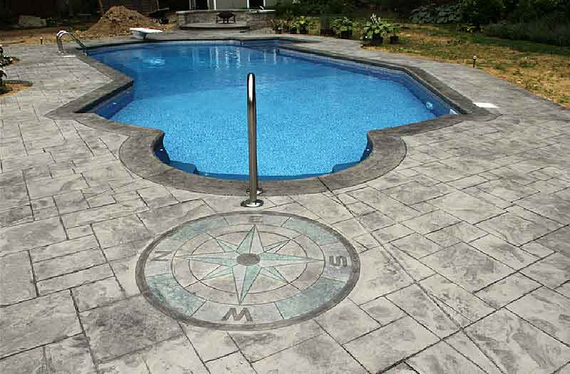 Stamped Concrete Swimming Pool Now