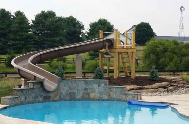 Water slides swimming pool now for Swimming pool water slide parts